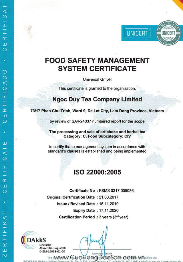 Chứng nhận ISO Atiso Ngọc Duy